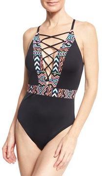 LaBlanca La Blanca La Azteca Lace-Up One-Piece Swimsuit, Black, Plus Size