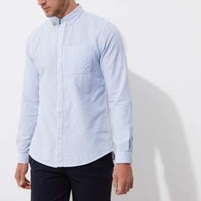 River Island Mens Blue stripe button-down collar casual shirt