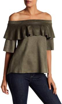David Lerner Micro Suede Off-the-Shoulder Ruffle Blouse