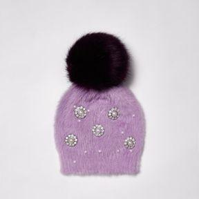 River Island Womens Purple brooch faux fur bobble beanie hat