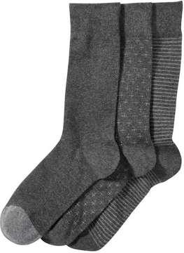 Joe Fresh Men's 3 Pack Casual Socks, Grey (Size 10-13)
