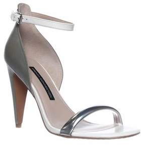 French Connection Nanette Ankle-strap Dress Sandals, Silver/shark/white.