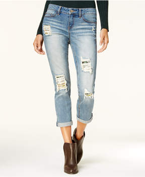 Dollhouse Juniors' Embellished Ripped Boyfriend Jeans