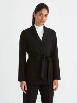 Frank and Oak Relaxed Belted Gabardine Blazer in True Black