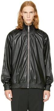Miharayasuhiro Black Faux-Leather Track Jacket