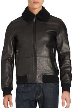Wool-Lined Leather Long Sleeve Jacket