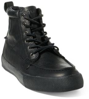 Ralph Lauren Tavis Leather High-Top Sneaker Black 10