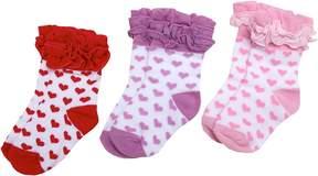 Jefferies Socks Ruffle Hearts Triple Treat Girls Shoes
