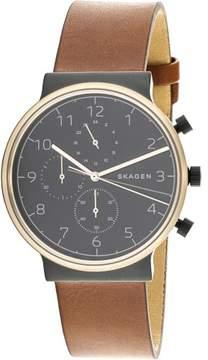 Skagen Men's Ancher SKW6400 Black Leather Japanese Quartz Fashion Watch