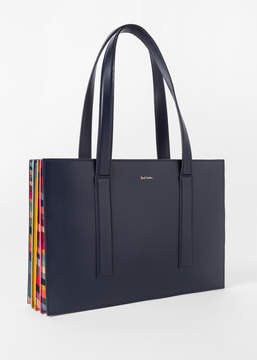 Paul Smith Women's Navy 'Concertina Swirl' Small Leather Tote Bag