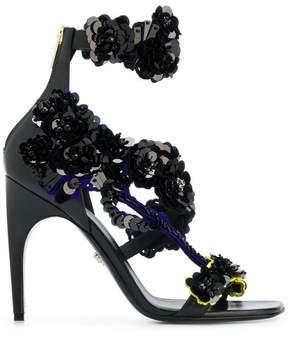 Versace floral sequin-embellished sandals