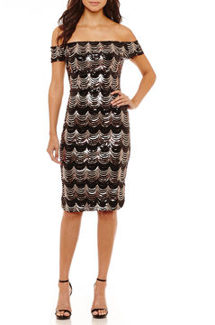 Bisou Bisou Off the Shoulder Sequin Velvet Sheath Dress