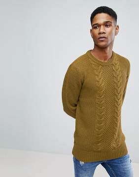 Brave Soul Chunky Cable Knit Sweater