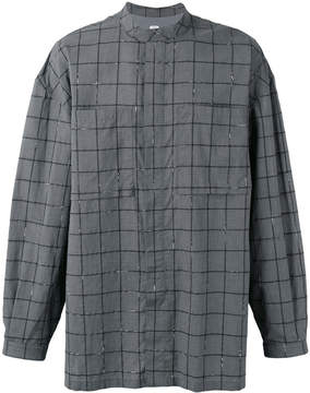 E. Tautz banded collar checked shirt