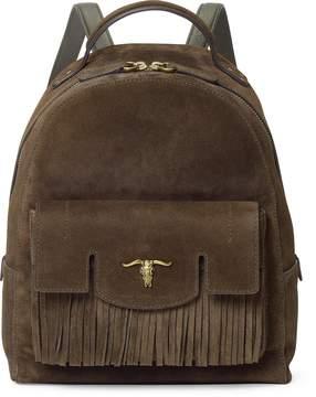 Ralph Lauren Steer-Head Suede Backpack