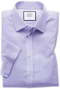 Charles Tyrwhitt Classic Fit Non-Iron Bengal Stripe Short Sleeve Lilac Cotton Dress Shirt Size 19/Short