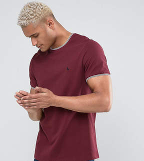 Jack Wills Gunnersbury Slim Fit Pique Tipped T-Shirt In Damson