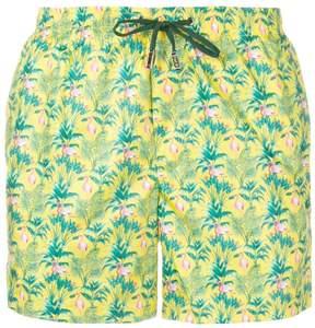 fe-fe flamingo print swim shorts