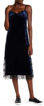 Chelsea28 Lace Trim Velvet Slip Dress