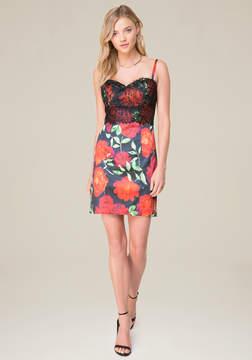 Bebe Floral Print Bustier Dress
