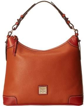 Dooney & Bourke Pebble Leather Hobo Hobo Handbags - CARAMEL W/ TAN TRIM - STYLE