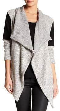 Blanc Noir Drape Tweed Ponte Inset Cardigan