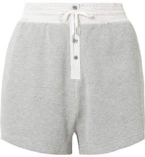 Alexander Wang Striped Poplin-trimmed Waffle-knit Cotton Shorts - Light gray