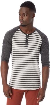 Alternative Basic Striped Eco-Jersey Raglan Henley Shirt