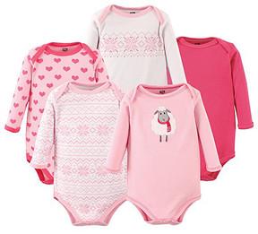 Hudson Baby Pink & White Sheep Bodysuit Set - Newborn & Infant