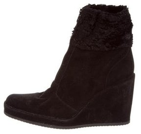 Stephane Kelian Shearling-Trimmed Wedge Boots