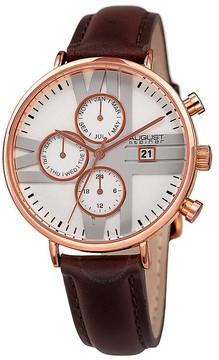 August Steiner Silver Dial Ladies Leather Multifunction Watch