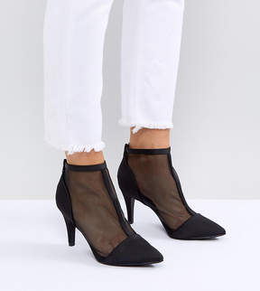New Look Wide Fit Mesh Heeled Boot