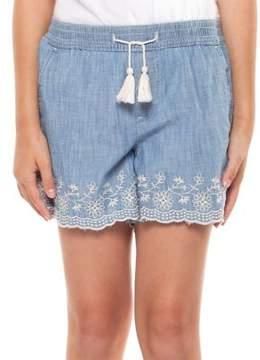 Dex Girl's Embroidered Hem Denim Shorts