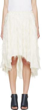Cédric Charlier Ivory Fringe Skirt
