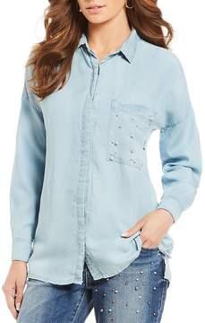 Democracy Drop Shoulder Embellished Pocket Button Down Shirt