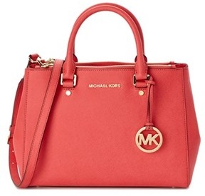 MICHAEL Michael Kors Sutton Leather Satchel. - RED - STYLE
