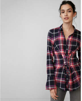 Express corset front cotton flannel shirt
