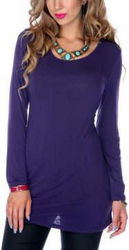 Lily Purple Knit Scoop Neck Top - Women