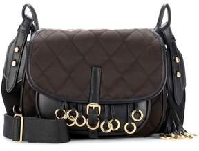Prada Leather-trimmed quilted shoulder bag