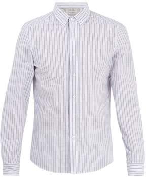 Brunello Cucinelli Striped single-cuff cotton-blend shirt