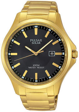 Pulsar Business Mens Gold-Tone Stainless Steel Solar Watch PX3076