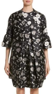 Carmen Marc Valvo Couture Floral Jacquard Jacket