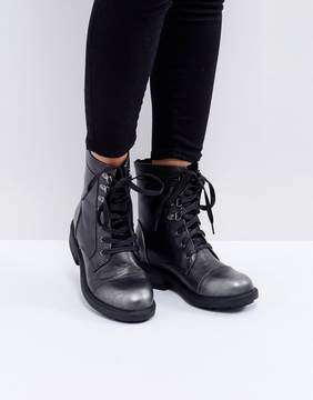 Glamorous Worker Lace Up Ankle Boots