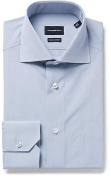 Ermenegildo Zegna Blue Slim-Fit Cutaway-Collar Checked Cotton-Poplin Shirt