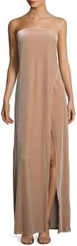 ABS by Allen Schwartz Women's Velvet Strapless Slit Gown