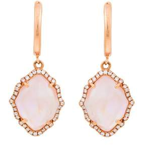Frederic Sage 18k Pg Small Marquis Smooth Top Pink Mop Crystal, Polished Clip and Diamond Around Earrings