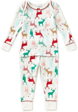 Starting Out Little Girls 2T-4T Christmas Reindeer-Print Top & Pants Pajama Set