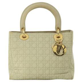 Christian Dior Vintage Lady Beige Cloth Handbag