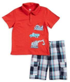 Kids Headquarters Little Boy's Two-Piece Truck Polo and Plaid Shorts Set