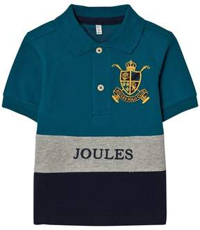 Joules Blue and Navy Colour Block Polo with Badge